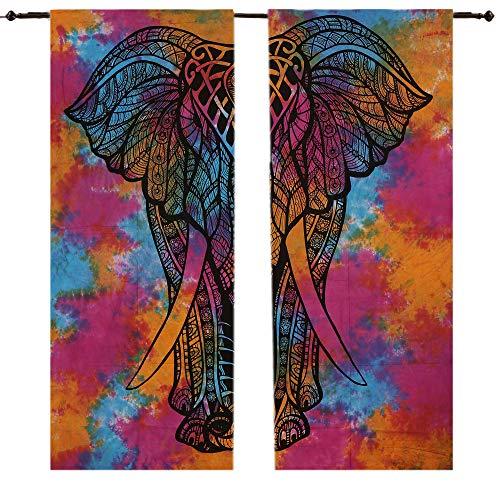 Mandala-Baumwolle, indischer Elefant, Wandteppich, Türvorhang, Fenstervorhänge