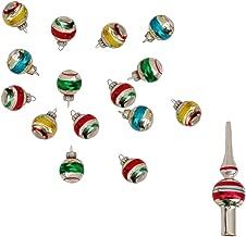 Kurt Adler Miniature Ornaments and Treetop, Set of 16