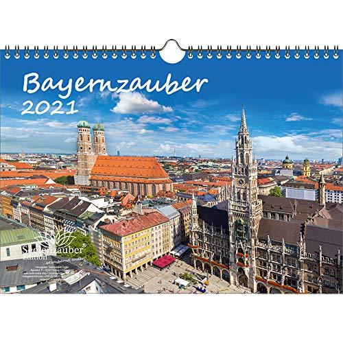 Bayernzauber DIN A4 Kalender für 2021 Bayern - Geschenkset Inhalt: 1x Kalender, 1x Weihnachts- und 1x Grußkarte (insgesamt 3 Teile)