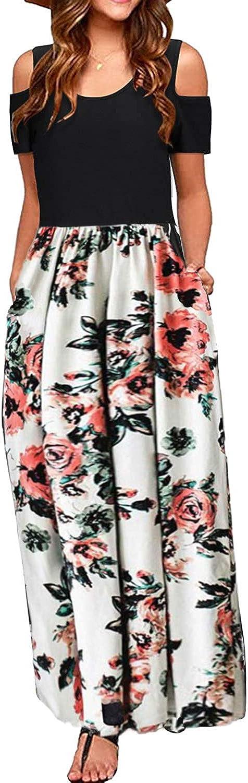 Kancystore Women's Short Sleeve Floral Maxi Dresses Cold Shoulder Dress with Pockets