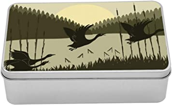 Ambesonne Geese Metal Box, Flying Birdies Wedge Through Bulrushes in Wild Forest, Multi-Purpose Rectangular Tin Box Container with Lid, 7.2
