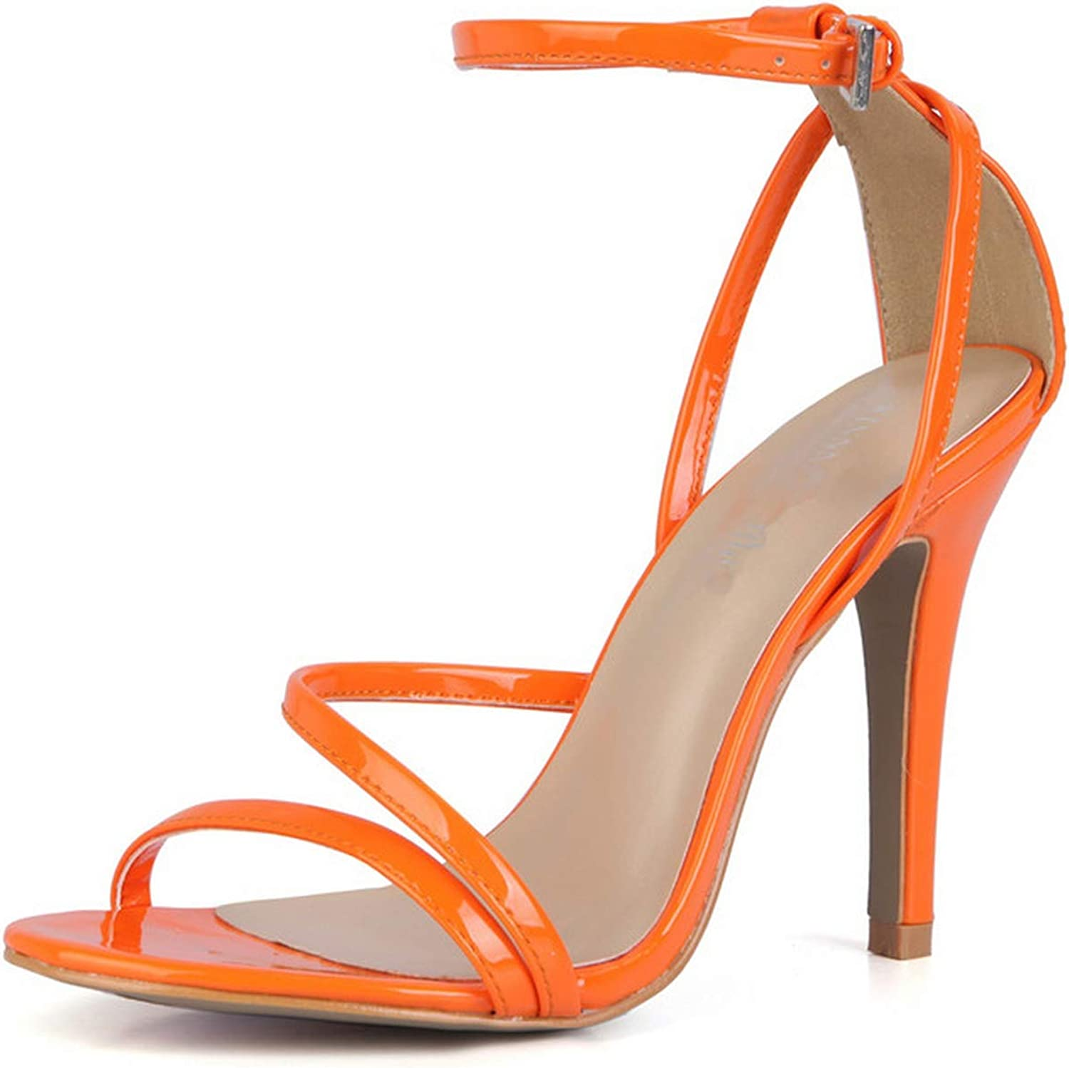 Private space shoes women Summer Stiletto Sexy Sandals 10cm Thin High-Heeled Buckle shoes Woman Patent Leather Pumps