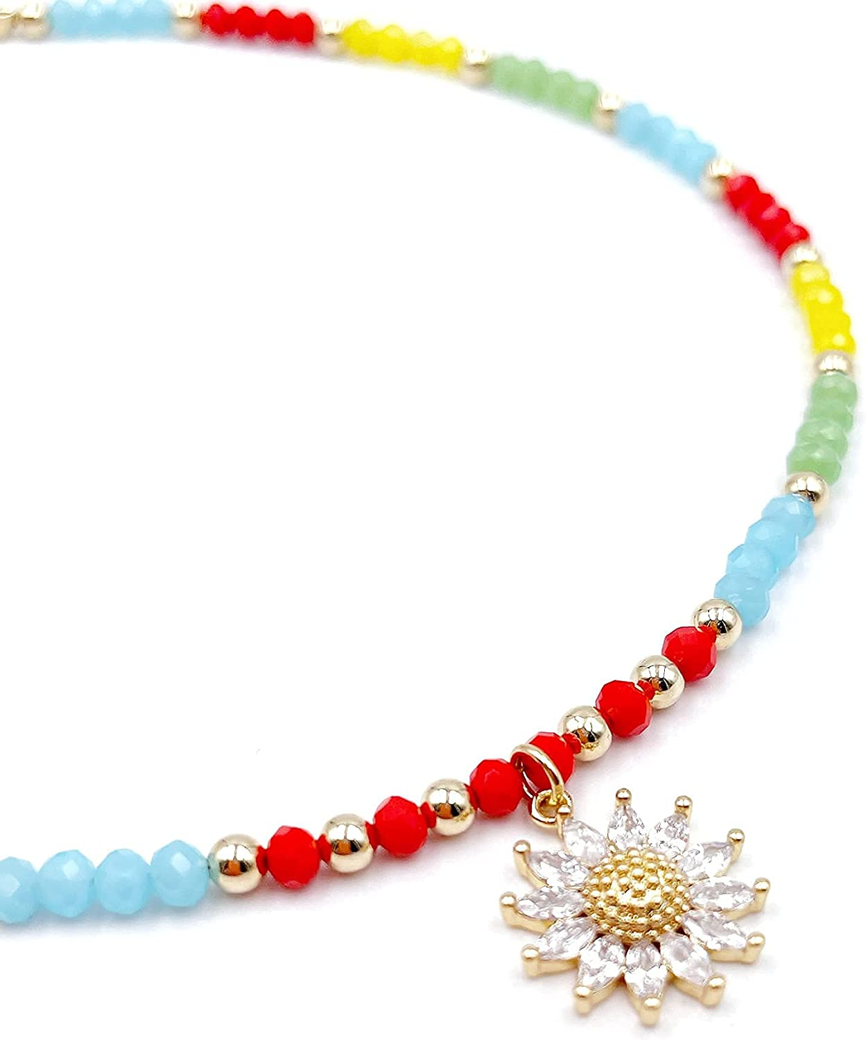 Sunflower Locket Beaded Colored Chain Choker Necklace