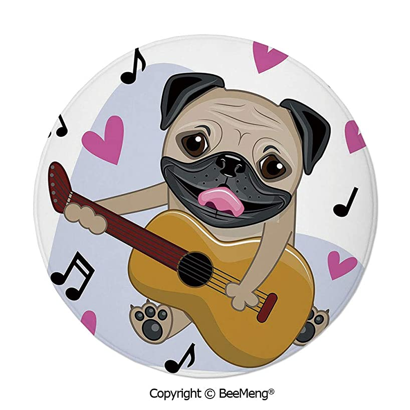 Diameter31 inch,Printing Round Rug,Dragonfly,Mat Non-Slip Soft Entrance Mat Door Floor Rug Area Rug for Chair Living Room,,Pug,Pug Dog Playing Guitar Singing with Cute Pink Hearts Funny Animal Cartoon