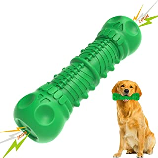 Tough Durable Dog Chew Toys, Squeaky Dog Toys for Medium Large Dogs Aggressive Chewers, Milk Flavor 100% Natural Rubber No...