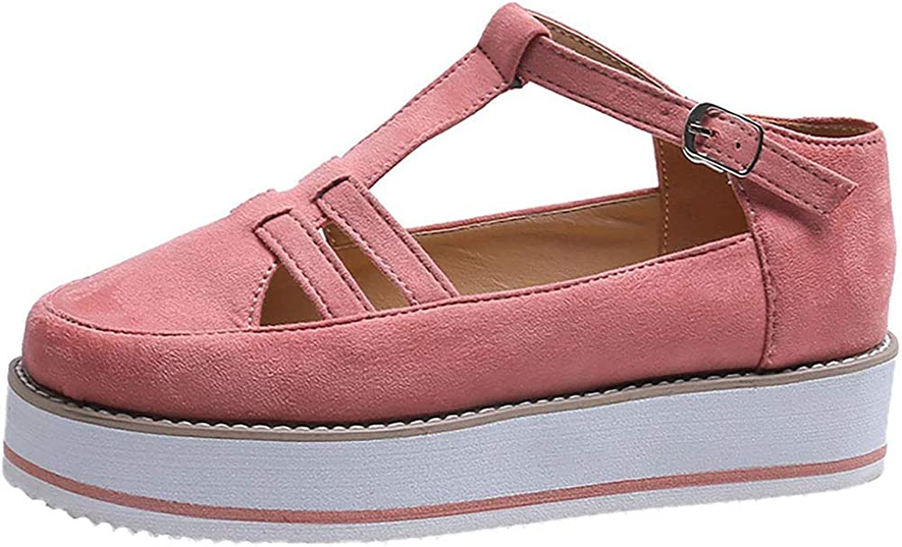 Vimisaoi Platform Sneakers for Women, Low Top Ankle Strap Wedge Fashion Sneakers Casual Walking Shoes Loafers Pink