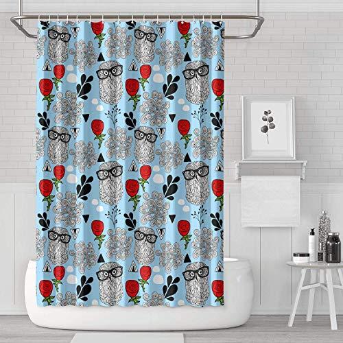 YUYUTE Cortinas de baño Decoración de bañoBath Curtain Blue Owl Gla
