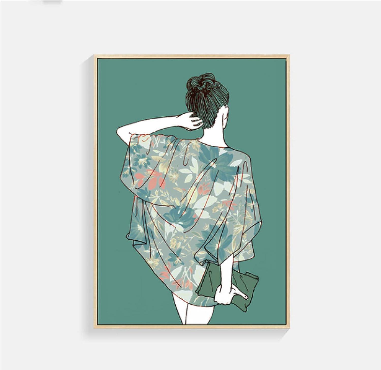 Jhmjqx Femmes feuilles vertes Max 74% OFF toile photo mur peinture Art online shop