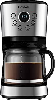 COSTWAY 12-Cup Coffee Maker, Programmable Brew Machine with LCD Display, Removable Mesh Filter, Warming Plate, Anti-drip System, Sprinkler Head, with 1.8L Glass Carafe and Spoon, Stainless Steel