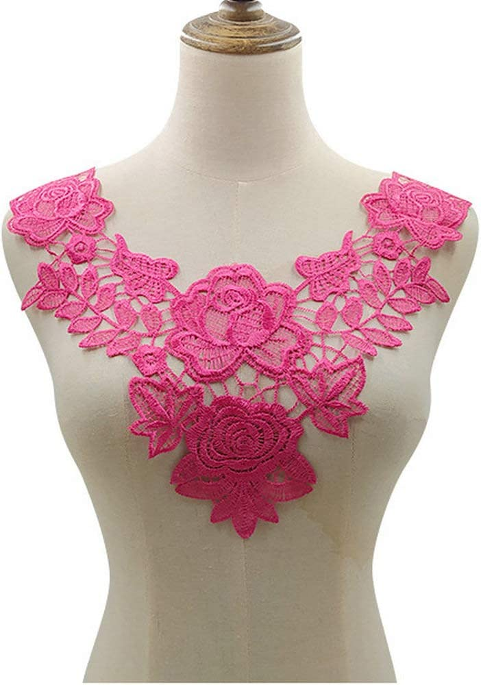 2 pcs Embroidery Double Rose Flower Lace New Orleans Mall Challenge the lowest price Fabric Neckline DIY Co