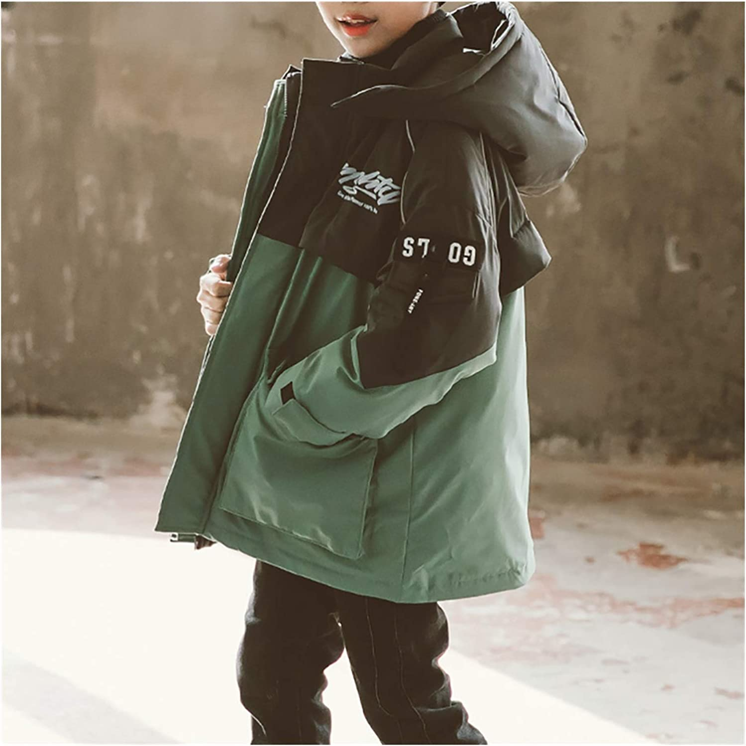 Warm Clothes Boys' Outerwear Jackets Coats Girls' Parkas Puffer Jacket Quilt Lined Jacket Thicken Coat Universal (Color : Green|,| Size : X-Large)