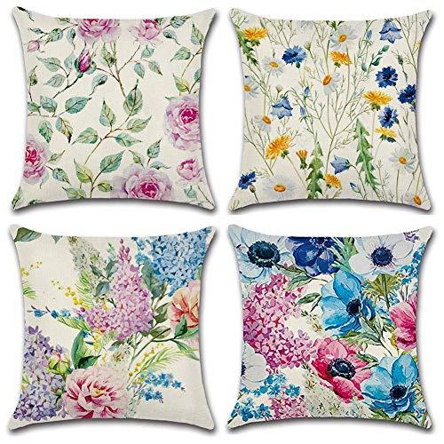 Gspirit peonia crisantemo 4 Pack Cuscini per divani Decorativo Cotone Biancheria Cuscino copricuscini Divano Caso Federa per Cuscino 45x45 cm