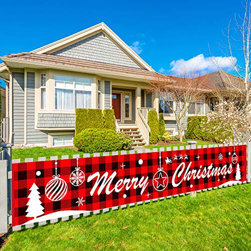 Pollenzic Large Merry Christmas Banner9.8 x 1.6 feet,Christmas Holidays Party Supplies Decoration,Big Red Plaid Christmas Banner,Christmas Banners Decorations for Outdoor Indoor Merry Xmas