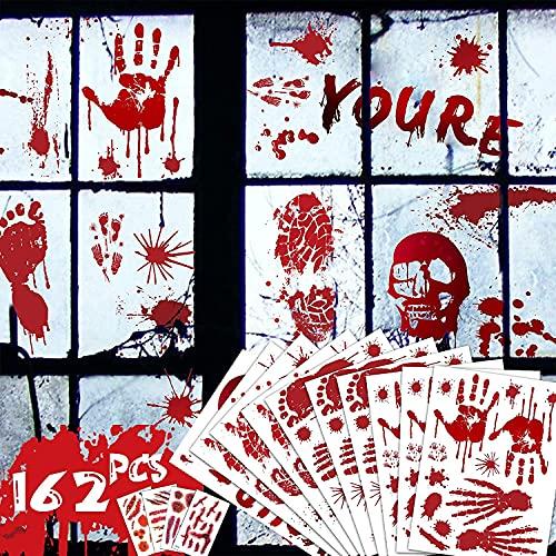 162 Piezas Pegatinas Ventana Halloween Sangrienta Pegatinas de Tatuajes Horror Pegatinas para Halloween Huellas de Sangre calcomanías de Huellas de Sangre para Decoraciones Fiesta de Halloween