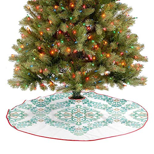 Xmas Tree Skirts Retro Middle Age Symmetrical Gothic Garland Forms in Pastel Print Green Blue Christmas Party Decorations A Simple But Elegant Design - 30 Inch