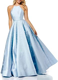 Aox Women Elegant Satin Rhinestone Long Evening Prom Dress Party Bridal Swing Princess Skirt