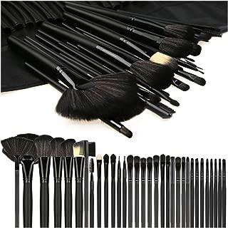 Makeup Brushes, Makeup Brush Set, 32 PCS Profesional Wooden Handle Synthetic Cosmetics Makeup Brush Kit with Leather Case, Foundation Eyeliner Blending Concealer Mascara Eyeshadow Face Powder (Black)