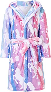 AIDEAONE Boys Girls Bathrobes, Kids Hooded Bathrobes with Plush Soft Flannel Robes Sleepwear Gift for 4-12 Years