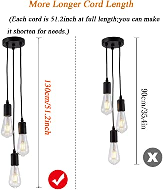 Pendant Light Fixture Industrial Hanging Lamp Vintage Ceiling Lamp 3 Lights 51.2inch Cord Cable E26 E27 Socket for Restaurant