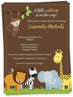Zoo Animals Baby Shower Invitation Printable  DIY  Baby Boy  Elephant  Jungle Animals  Giraffe  Lion  Bear  Monkey