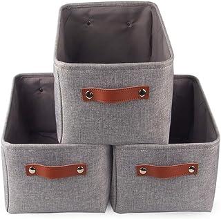 Mangata Boîte de Rangement Pliable en Tissu avec Les poignées, Lot de 3 Panier de Rangement pour Vêtements, Livres, Cosmét...