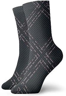 Seamless Diagonal Plaid Pattern Trendy Line Men's Cotton Cushion Crew Socks