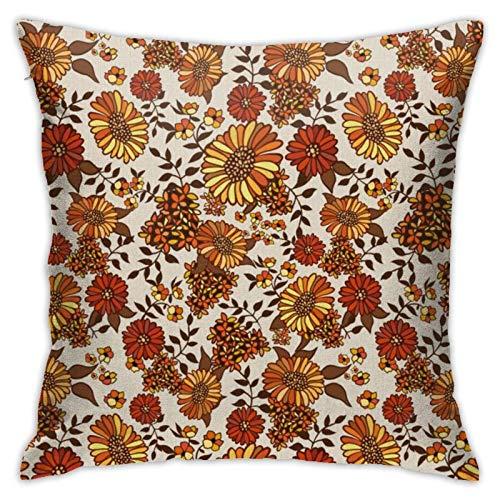 AEMAPE Funda de Almohada Cuadrada, Retro 70S Boho Hippie Orange Flower Power, Funda de cojín para Coche, sofá, decoración del hogar