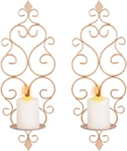 Sziqiqi Suporte de parede para velas de ferro conjunto de 2 arandelas para pendurar na parede, arandelas de parede para de...