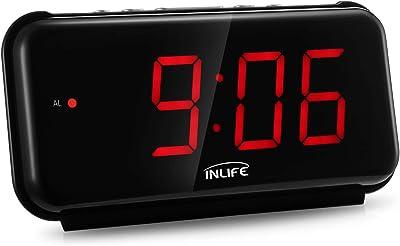 INLIFE Despertador Digital Reloj Alarma Digital con 6.7 Pulgadas Pantalla Función Snooze con Botón Grande para