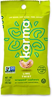 Karma Nuts Lime Twist Cashews | 1.5 oz - 12 Pack | Whole, Wrapped Cashews | Air Roasted, No Oil | Natural, Minimally Processed | Non-GMO, Gluten-Free, Vegan, Kosher | Rich in Antioxidants + Fiber