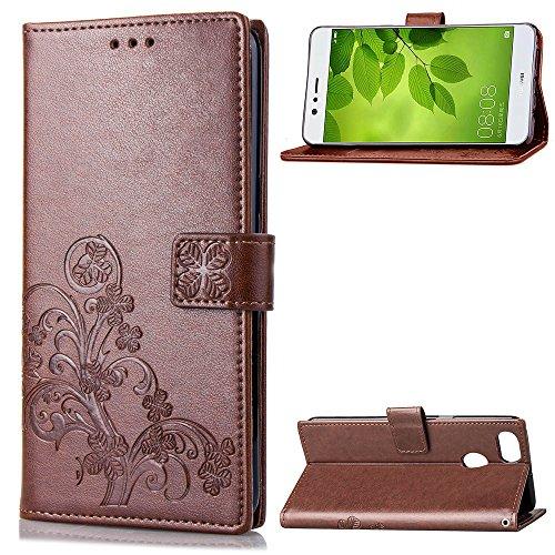 Hülle für Huawei P Smart/Enjoy 7S Hülle Handyhülle [Standfunktion] [Kartenfach] Schutzhülle lederhülle klapphülle für Huawei P Smart - DESD050794 Braun