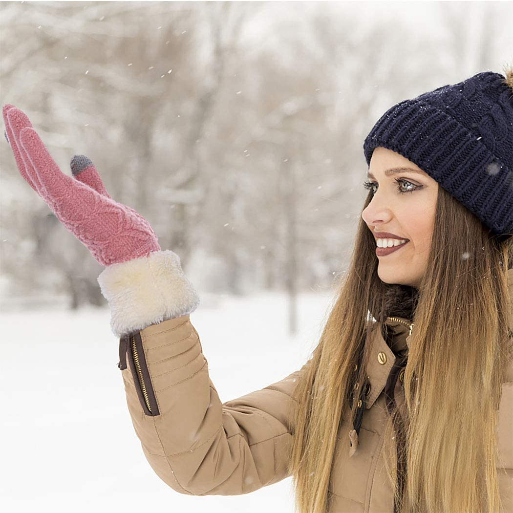 Urieo Winter Touchscreen Gloves Pink Warm Anti-slip Wool Knit Glove Thick Windproof Soft Fleece Lined Mittens Ski Outdoor Texting for Women and Girls