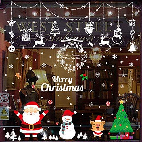 DANGZW Fensterbilder Weihnachten Selbstklebend, Weihnachtsdeko Fenster Winterdeko Mit Weihnachtsmann Baum Schneemann und Schneeflocke für Haus Büro Kaufhaus Feiertags Weinachts Dekoration Fenster Deko