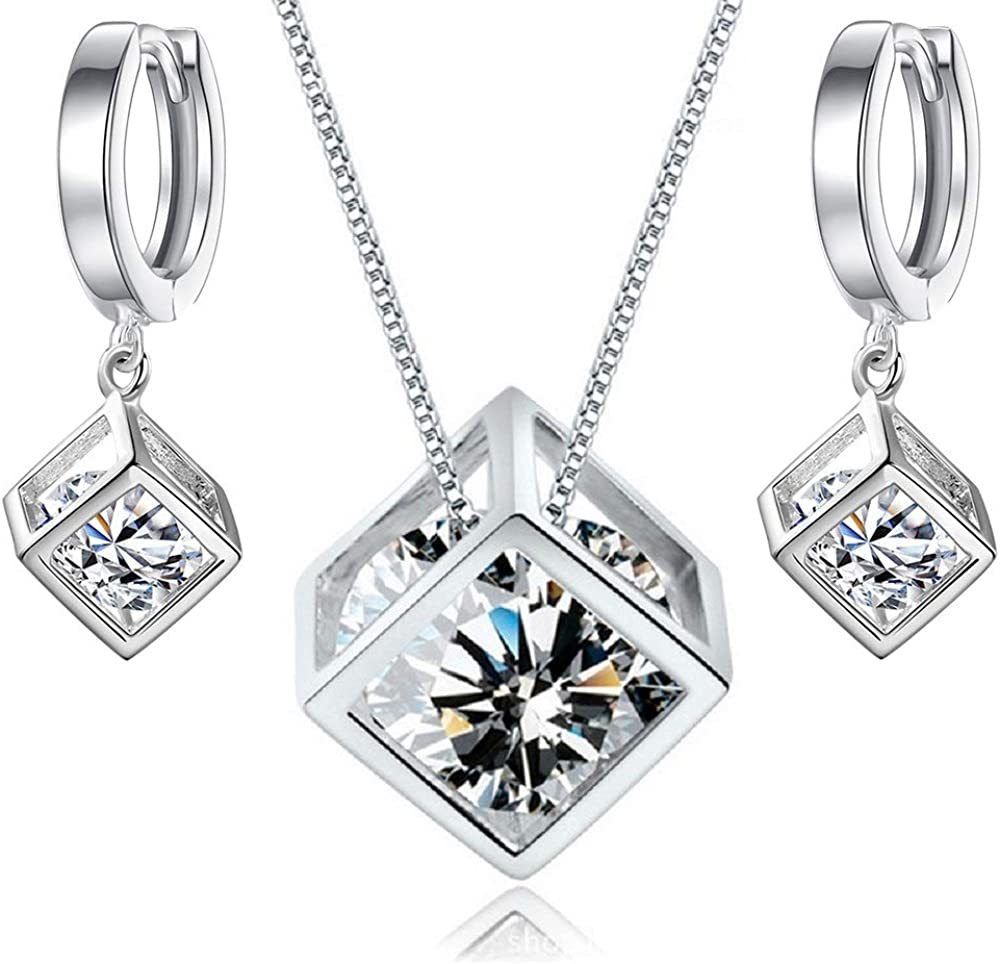 Crystalline Azuria White Zirconia Crystals Cube Set Pendant Necklace 18