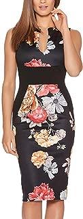 Women's Sleeveless Deep V Neck Floral Print Cocktail Party Pencil Dress