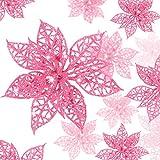 Boao 24 Piezas de Poinsettia Brillante Adorno de �rbol de Navidad Flores Navideñas, 3/4/ 6 Pulgadas (Rosa)