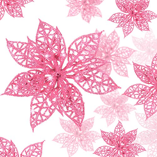 Boao 24 Pieces Glitter Poinsettia Christmas Tree Ornament Christmas Flowers Decor Ornament, 3/4/6 Inches (Pink)