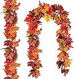 YQing 3 Pieza Hoja de Arce de Seda Artificial Hojas de Otoño Guirnalda de Hojas de Arce Decoracion de Fiesta Boda Halloween Acción de Gracias, Largo 179cm (Amarillo & Verde, 3)