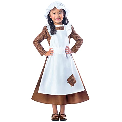 Childs Girls Fancy Dress Poor Victorian Girl Costume Brown//White New by Smiffys