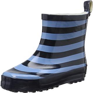 Playshoes Barn halvskaft gummistövlar av naturgummi, trendiga unisex regnstövlar med reflektorer, randiga