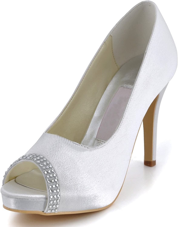 Minitoo Womens Peep Toe Stiletto Heel Slip on Bridal Wedding Satin Sandals shoes