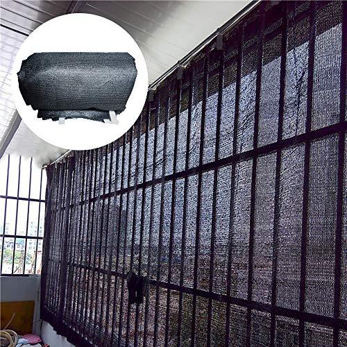 Schaduwnet LCYXM 60% Zonnescherm Balkon Verwijderbaar Gordijn Zonwering/Muggenwerend verdikt 6-pins Net-zwart (met Touw En Bewegende Ring)