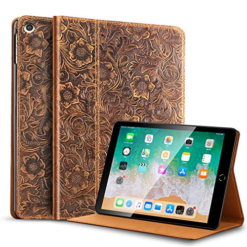 Gexmil Leather ipad 10.2 case 2020, Cowhide Folio Cover for New iPad 8th/7th Gen Genuine Leather case, Also applies to iPad 10.2 case 2019 (Pattern-Brown)