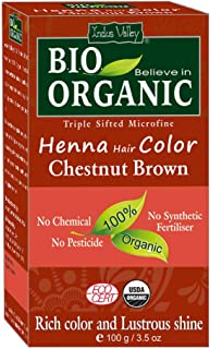 Indus Valley 100% Organic, Herbal Henna Hair Color Chestnut Brown-100gm