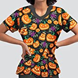 YOYHX Blusa de manga corta con cuello en V para mujer, para Halloween, calabaza, con bolsillos, Negro, M