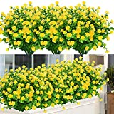 ArtBloom 6 Bundles Outdoor Artificial Flowers UV Resistant Fake Boxwood Plants, Faux Plastic Greenery for Indoor Outside Hanging Plants Garden Porch Window Box Home Wedding Farmhouse Decor (Yellow)