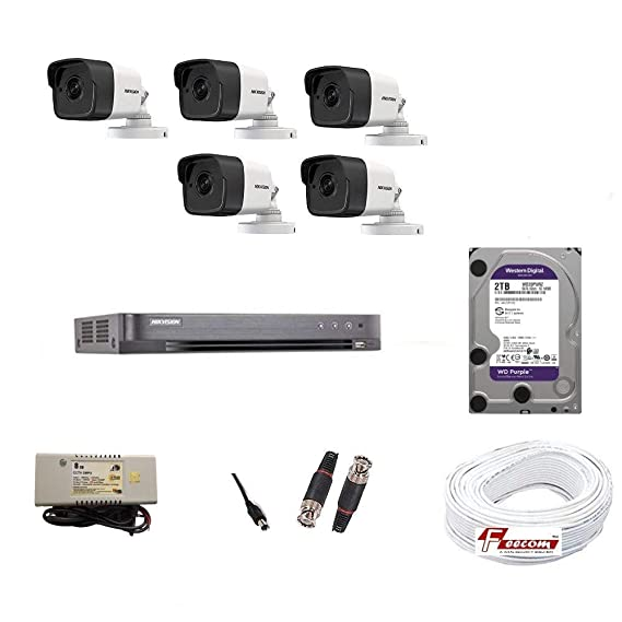 HIKVISION Full HD 5MP Cameras Combo KIT 8CH HD DVR+ 5 Bullet Cameras +2TB Hard DISC+ Wire ROLL +Supply and All Required Connectors