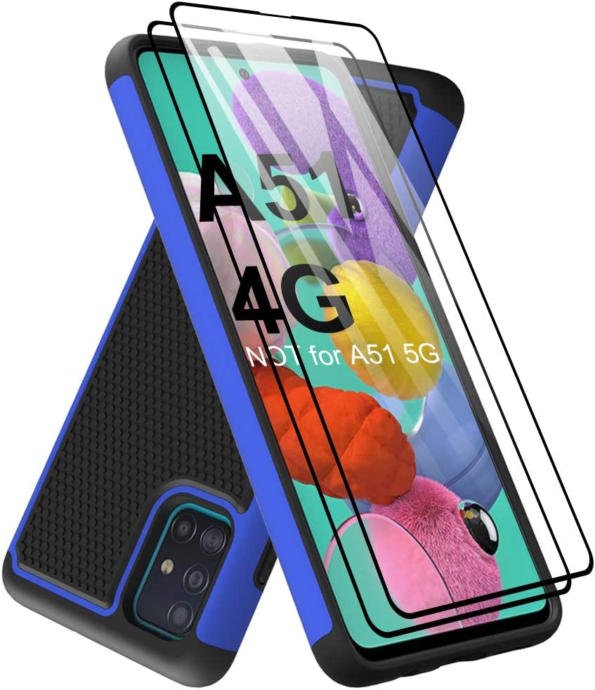 Dahkoiz Case Compatible for Samsung Galaxy A51 Case with Tempered Glass Screen Protector, Sturdy Durable Armor Defender Cover Dual Layer Hybrid Protective Phone Cases for Galaxy A51 A515, Blue