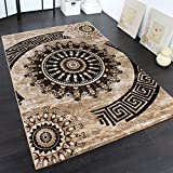 Paco Home Teppich Klassisch Gemustert Kreis Ornamente in Braun Beige Schwarz Meliert, Grösse:120x170 cm