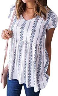 Women Bohemian Short Sleeve V Neck Floral Print Peplum Shirt Top Blouse Tee